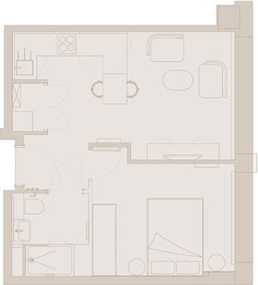Typical 1-Bed Floor Plan